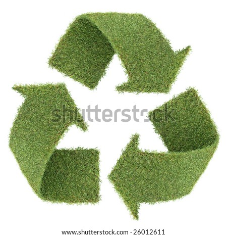 recycle symbol form by real green grass - stock photo