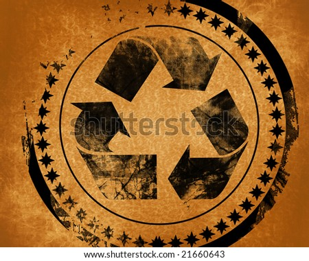 recycle symbol on a grunge like background - stock photo