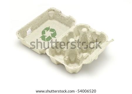 Recycle symbol on egg carton isolated white background - stock photo