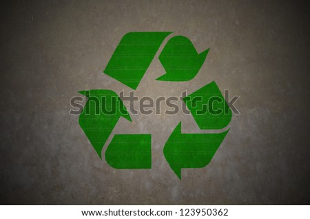 recycle symbol on grunge texture - stock photo
