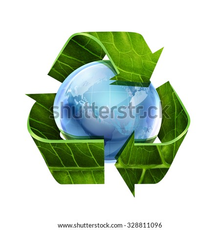 Recycle symbol with leaf texture and world on white background - stock photo