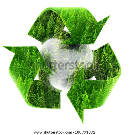 Recycle Symbol with View of forest of green pine trees on mountainside - stock photo
