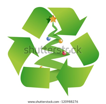 recycle tree illustration design over a white background - stock photo