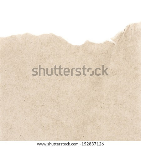 Recycled beige paper  texture or background with Torn edge.  Old craft paper texture.