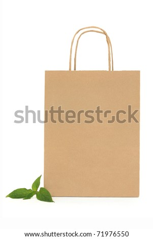 Recycled brown paper shopping bag with handle and green leaf sprigs, over white background.