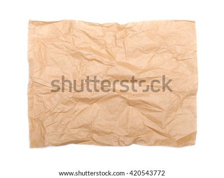 Recycled crumpled paper texture on white background