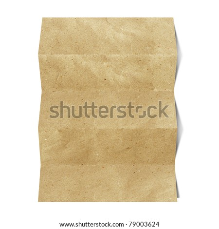 recycled folded paper craft stick on white background - stock photo