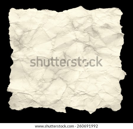 Recycled Old Blank Paper. Isolated on black background. - stock photo