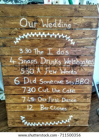 Recycled Pallet Wedding Program Sign