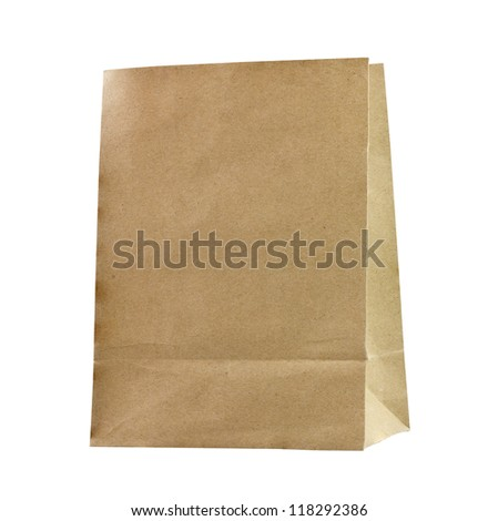 Recycled paper bags on white background. - stock photo