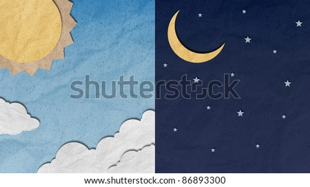 recycled paper craft ,Day and Night Sky - stock photo