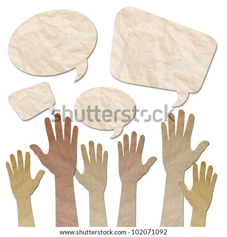 recycled paper craft, Human Hands raised up with Speech Bubbles on white - stock photo