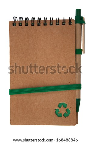 recycled paper notebook with Recycle logo and pen isolated on white - stock photo
