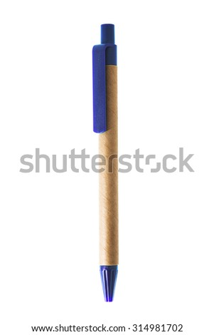 Recycled pen isolated on white. - stock photo
