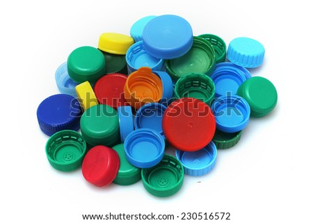 Recycled plastic bottle caps - stock photo