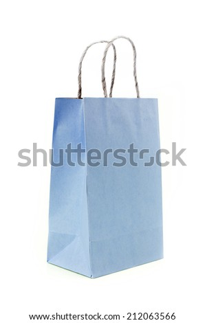 Recycled Shopping Blue paper bag on white background .