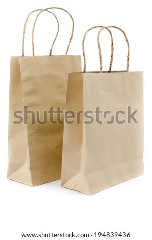 Recycled Shopping Brown paper bag on white background .  - stock photo
