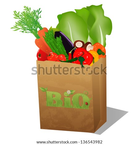 Recycled shopping paper bag with bio sign and veggies - stock photo