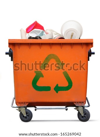 Recycled sign on garbage bin - stock photo