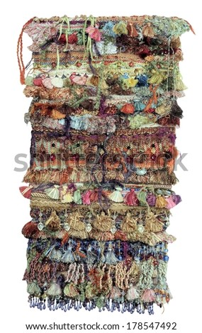 Recycled Upcycled Textile Collage with Colorful Fringe Fiber Art Yarn Wall Hanging Craft - stock photo