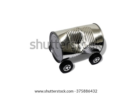 Recycling a Tin Can Into a Car - stock photo