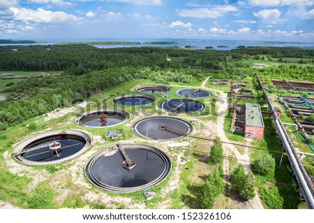 Recycling and disposal of solid waste from manufacturing on sewage treatment plant  - stock photo