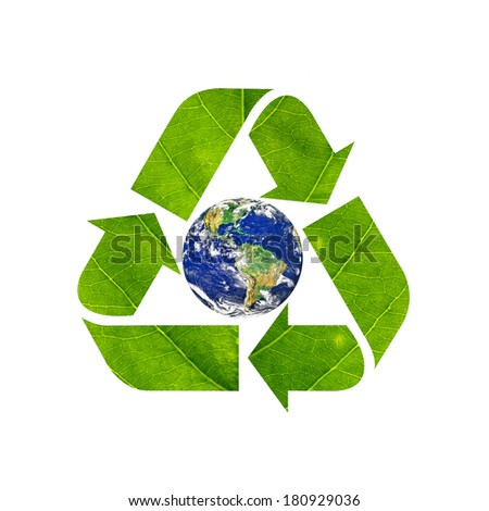 Recycling arrows made of green leaf and globe icon, Isolated on white background, Elements of this image furnished by NASA - stock photo