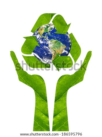 Recycling arrows made of green leaf and globe icon on woman hands isolated on a white background. Ecology Concept.Environment ally friendly.Elements of this image furnished by NASA - stock photo