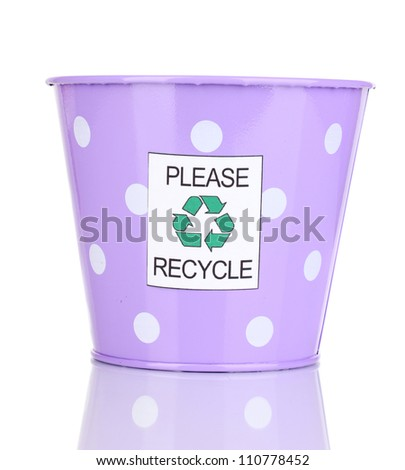 Recycling bin isolated on white - stock photo