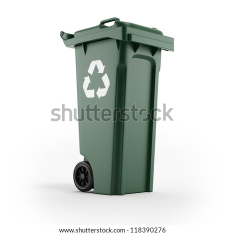 Recycling bin with recycling symbol - stock photo