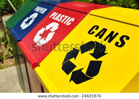 Recycling bins - stock photo