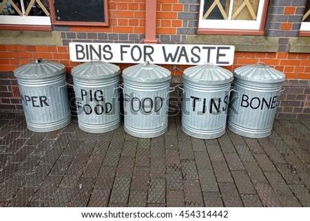 Recycling Bins, 1940. - stock photo