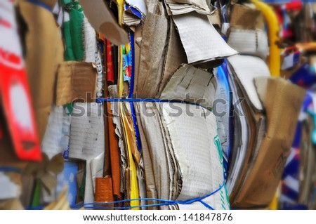 Recycling cardboard, old paper. - stock photo