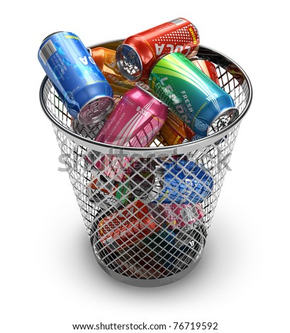 Recycling concept: drink cans in the trash bin - stock photo