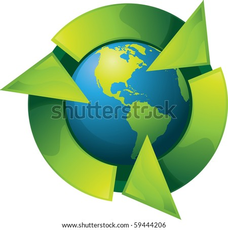 Recycling concept. Only gradients were used for coloring. - stock photo