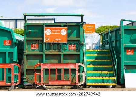 Recycling container at a recycling centre, in England - stock photo