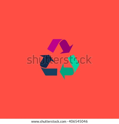 Recycling Flat icon on color background. Simple colorful pictogram