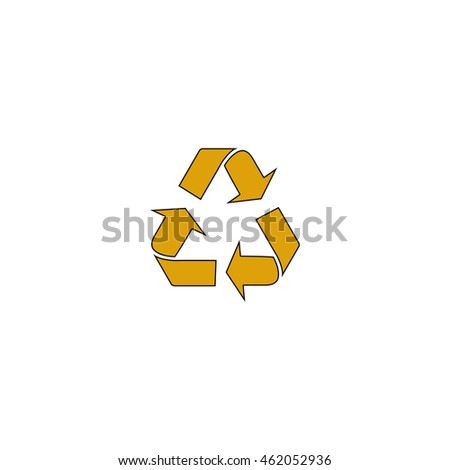 Recycling Flat yellow thin line pictogram on white background. Illustration icon