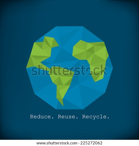 Recycling info graphics - modern polygonal element paper earth minimalist design - stock photo