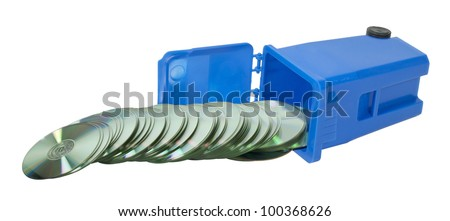 Recycling information shown by computer disks spilling out of a recycling bin - path included - stock photo