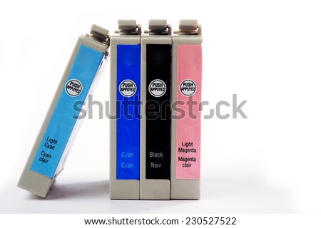 Recycling ink cartridges for printers - stock photo