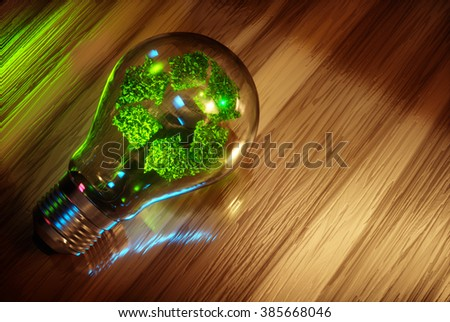 Recycling light bulb concept. 3D computer generated image. - stock photo