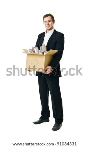 Recycling man isolated on white background - stock photo