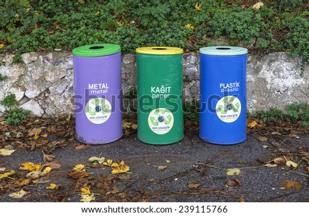 Recycling of waste is began recently in Turkey. Only a portion of the municipality placed different garbage cans depending on the type of waste