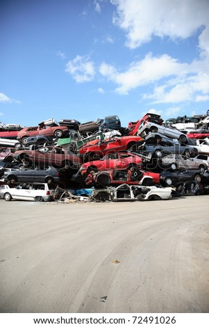 recycling old cars in Germany - stock photo