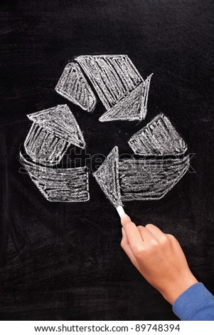 Recycling: Recycle sign on blackboard. Hand drawing recycle sign arrows on chalkboard.