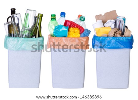 Recycling rubbish. Tree bins full of plastic, paper and glass isolated on white background - stock photo