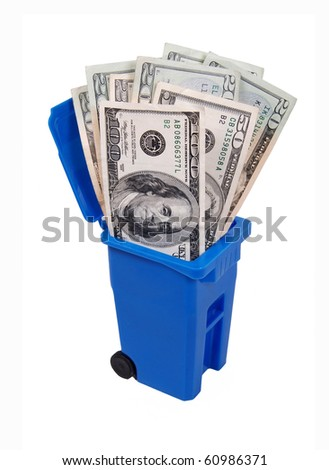 Recycling saves money shown by a recycling bin full of money - path included - stock photo