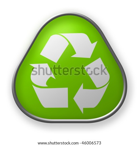 recycling sign button - stock photo