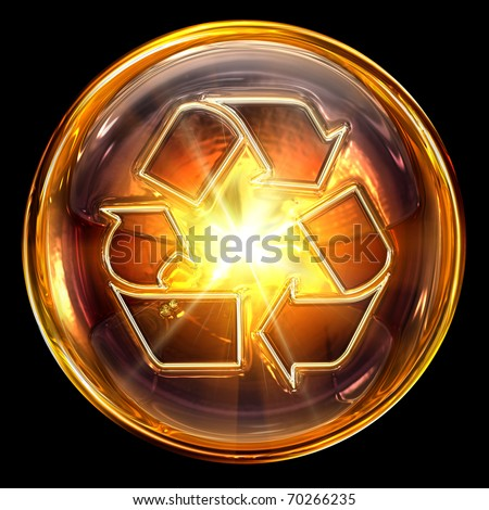 Recycling symbol icon fire, isolated on black background. - stock photo